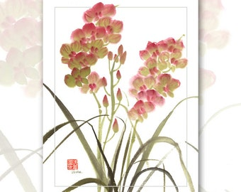 """Watercolor Chinese Brush Painting Cards  """"Orchids"""""""