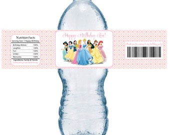 Disney Princess Birthday Personalized Water Bottle Labels- Printable DIY File