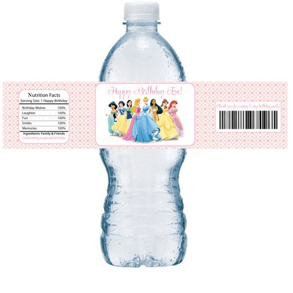Disney Princess Birthday Personalized Water Bottle Labels ...