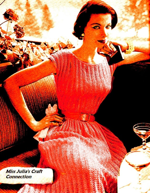 Vintage 1950s Vogue Lace Cocktail Dress 157   PDF Digital Knit Pattern