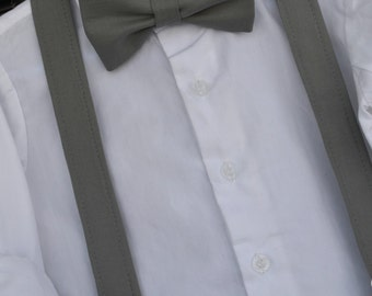 Boys grey bow tie, boys grey suspenders, childs grey bowtie, boys pewter suspenders, toddler bowtie, baby grey bow tie, boys charcoal bowtie