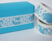 Woodland Parcel Tape - Illustrated Vinyl Packaging Tape with Fox, Badger & Squirrel Design in Aqua
