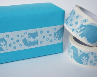Woodland Sticky Tape - Printed Vinyl Tape with Fox, Badger & Squirrel Design in Aqua