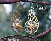 Steampunk Earrings, Propeller Earrings, Compass Earrings, Gear Wings, Airplane, Aviator  By Alchemy Divine Couture