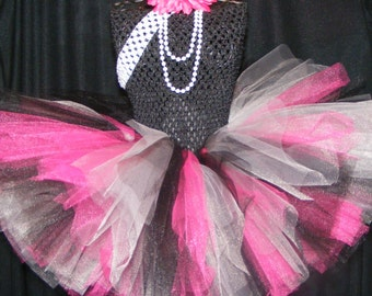 Infant/Toddler/adult Rock Star Tutu dress - pink, gray, and black tulle with matching headband nb-4T birthday, wedding, photos