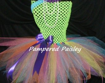 Birthday - Baby - Infant/Toddler  newborn-4T Tutu dress - bright colored tutu with green top and matching headband