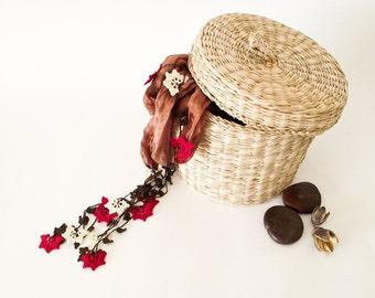 Silk Wrap Scarf Camel Silk Necklace Crochet Beaded Necklace Oya Autumn Leaves Red Cream Crochet Flowers Necklace Foulard Scarf, Beadwork