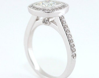 Bezel Set Halo Engagement Ring Moissanite Center Diamond Setting 14k Gold