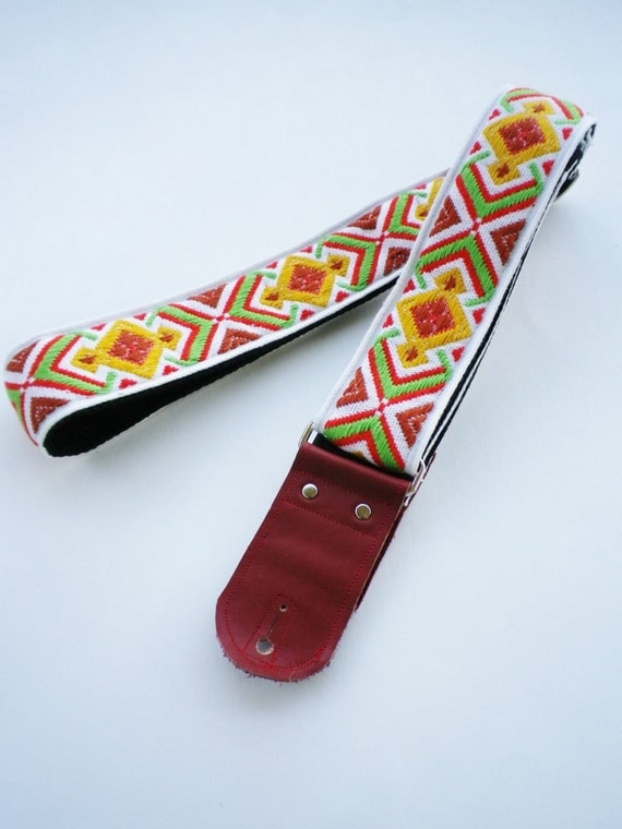 Guitar Strap - Vintage Red & Yellow Geometric woven ribbon vintage style guitar strap with red leather ends