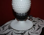 Vintage White Hobnail Hurricane Lamp... Black & White. Milkglass