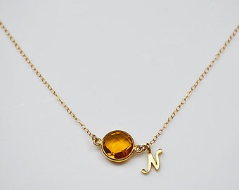 Personalized Birthstone Necklace - gold or silver - custom necklace - citrine necklace - initial necklace - mommy necklace - mom jewelry