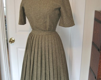 Vintage 60s Green Tweed Wool Dress with Nipped Waist and Pleated Skirt for I Magnin Mad Men