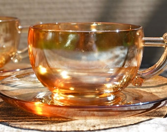 Iridescent Marigold Carnival Glass Set of Two Tea Cups and  Two Saucers