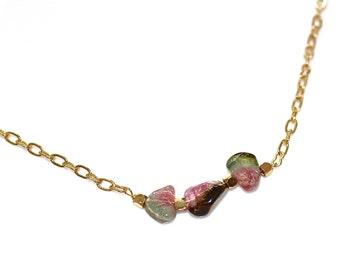 Watermelon Tourmaline Slice Necklace Everyday Necklace Tourmaline Necklace Tourmaline Jewelry Delicate Necklace Minimalist Jewelry FizzCandy