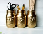 Home Office and Dorm Decor Gold Painted Mason Jars Vase Ball
