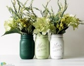 St. Patrick's Day Decor Home Decor Vase Painted Mason Jar Centerpiece