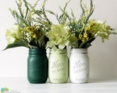 St. Patrick's Day Decor Home Decor Vase Painted Mason Jar Centerpiece