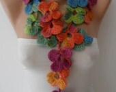 CHRISTMAS, HOLIDAY GIFT, Gifts For Her, Gifts For Women Handknit flowered scarf -  Multicolor scarf