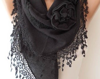 Gift for Her Christmas Gift Black Rose Scarf Shawl Gifts For Women Christmas Gift Fall Winter Scarf Accessories Womans Gift Womens Gift