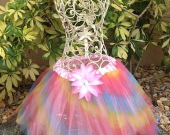 Multi Colored TuTu, Rainbow Tutu, Fairy Tutu, Girls Party Favors, Fairy Party Favor, Tinkerbell Tutu, Tinkerbell Costume, Princess Costume