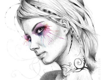 Beautiful Girl Print, Tattoo Art, Surreal Girl, Art Print of my Drawing, Giclee Print, Feminine Art, Pencil and Digital Illustration, 5x7