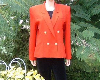 Carmine Red Double Breasted Fully Lined Wool Crepe Jacket Women's by Liz Claiborne  Size 14 Vintage 1990