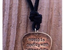 ORIGINAL R5 Guitar Pick Necklace Ross Lynch Music is Poetry With Personality hand stamped brass leather