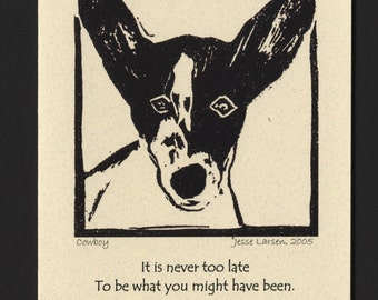 Card. Dogs. Cowboy, Rat terrier-mix block print by Jesse Larsen on quality blank card w/George Eliot quote. Free US shipping.
