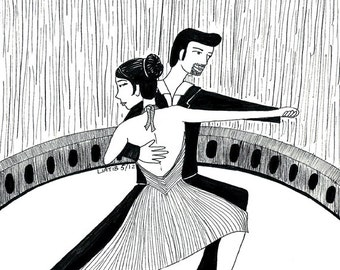 Tango dancers illustration, black and white pen illustration A5 print on paper great as gift for teenagers for girls room decor