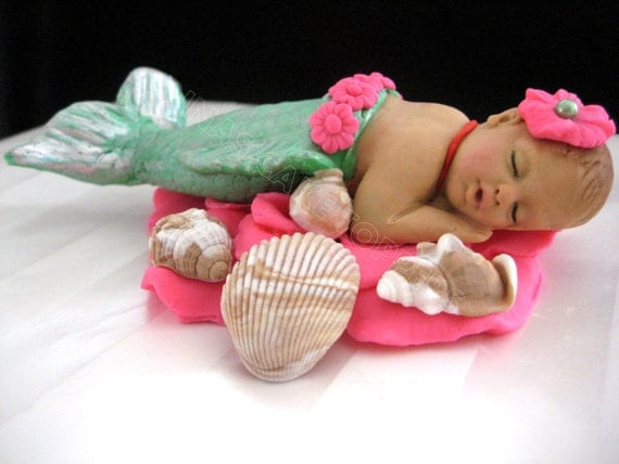 Cake Toppers For Baby Birthday : MERMAID Baby Cake Topper 1st Birthday baby by DinasCakeToppers