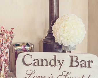 """Candy Bar Wedding Sign """"Love is Sweet"""" Rustic Handmade & Laser Etched, Candy Buffet"""