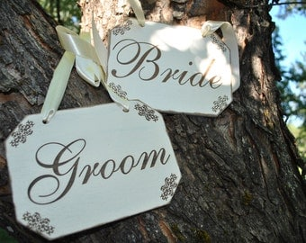 Rustic Wedding Signs Bride & Groom Wedding Signs, Vintage Inspired Handmade Laser Etched.