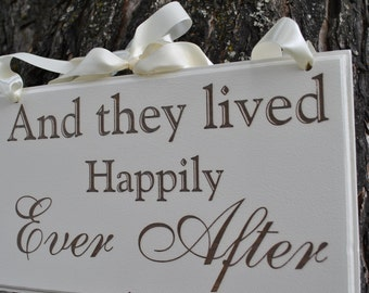 "Wedding Sign,Double Sided  ""Here Comes the Bride"" & ""And They Lived Happily Ever After""Wedding Photo Prop,  Wedding Sign,  Laser Engraved."