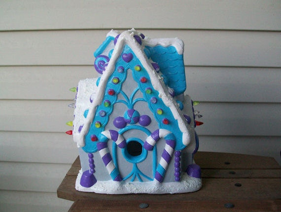 Hand Painted Plaster Light Up Gingerbread House in Blue/Purple/Gray/White