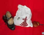 Flamenco gift, Dance shoes bag, White and Red, Flamenco shoes bag, flamenco dance gift, Travel lingerie bag, flamenco lover gift