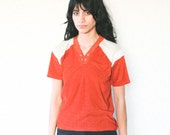 70's vintage burnt orange/tan terrycloth v-neck shirt (small/medium)