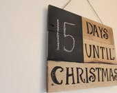Rustic wood pallet countdown to Christmas decor chalk board calendar wall hanging decoration
