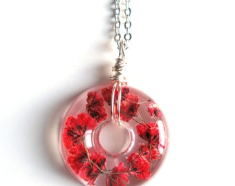 Red Baby Breath Necklace - Real flowers in Resin -  Pressed Flower Jewelry, Resin Necklace, Wire Wrapped Pendant,  Donut Pendant