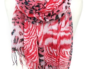 Red Scarf. Cotton Scarf. Animal Print Shawl. Leopard Scarf. Zebra Scarf. Fashion Scarf. Woman Birthday Gift. 27x65in (70x165cm) Ready2Ship