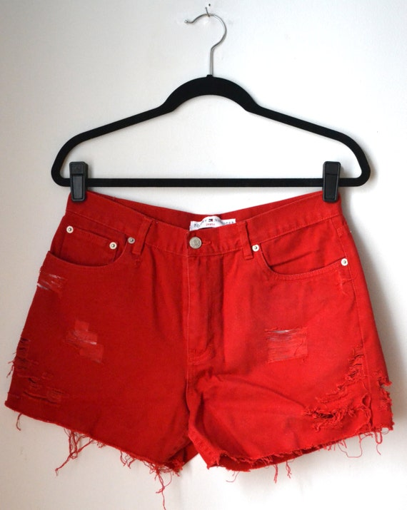 Tommy Hilfiger Jean Shorts Red Size 10 by legitbabes on Etsy