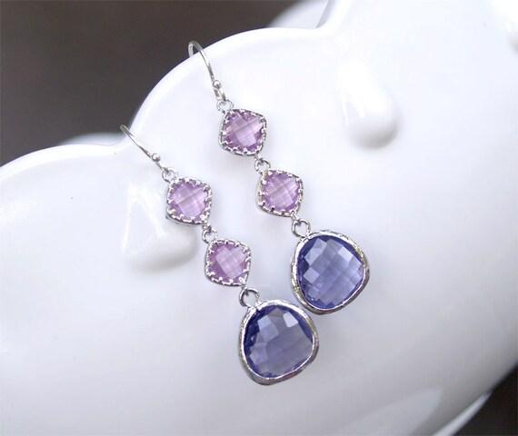 purple bridesmaid earrings purple dangle earrings by