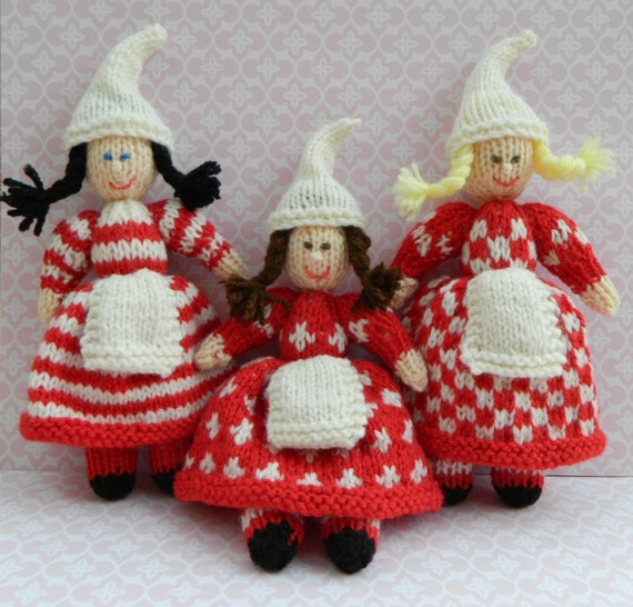 Knitting Pattern For Xmas Elf : Christmas Elves Christmas Doll Toy Knitting by ...