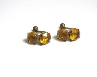 Vintage Vermeil Orange Screw Back Earrings