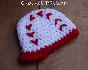 Crochet PATTERN - 28 - Newborn Baseball Cap - Instant Download