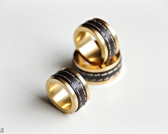 Leather Ring - Brown & Gold
