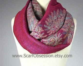 Magenta scarf, hot pink scarf, cowl, winter scarf, Fern scarf