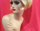 PASTY STONE WIG! Custom Professional Costume Wig- Drag Queen, Celebrity Impersonator, 60s Beehive Go-Go Retro Burlesque Blonde w Bangs