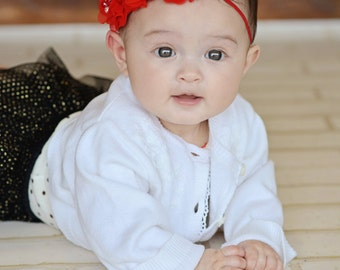 Valentine headband, Red Baby Headband, , Infant Headband, Newborn Headband - Red Christmas Headband Chiffon and Pearls Flower Headband