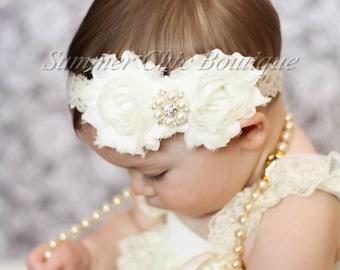 Baby Headband, Infant Headband, Newborn Headband, Ivory Baby Headband, Baptism Headband, Christening Headband