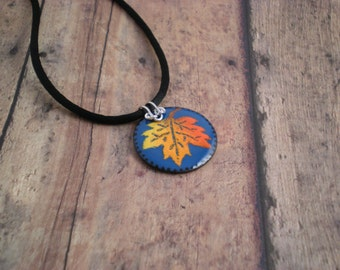 Fall Leaf on Blue Lg enamel Pendant with Sterling Silver